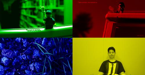 Image of 4 photographs captured by students arranged in quadrants with primary color overlay.